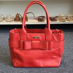 Kate Spade Red Bow Leather Handbag Tote